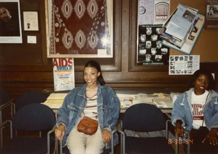 Two students at 1994 multicultural organization fair