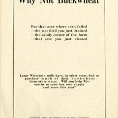 Why not buckwheat?