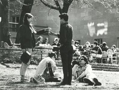 Students relaxing on Terrace