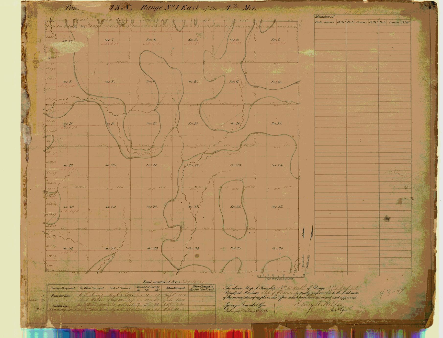 [Public Land Survey System map: Wisconsin Township 43 North, Range 01 East]