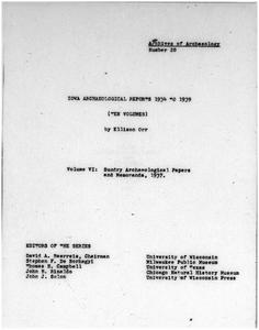 Iowa archaeological reports 1934 to 1939. Volume VI, Sundry archaeological papers and memoranda, 1937
