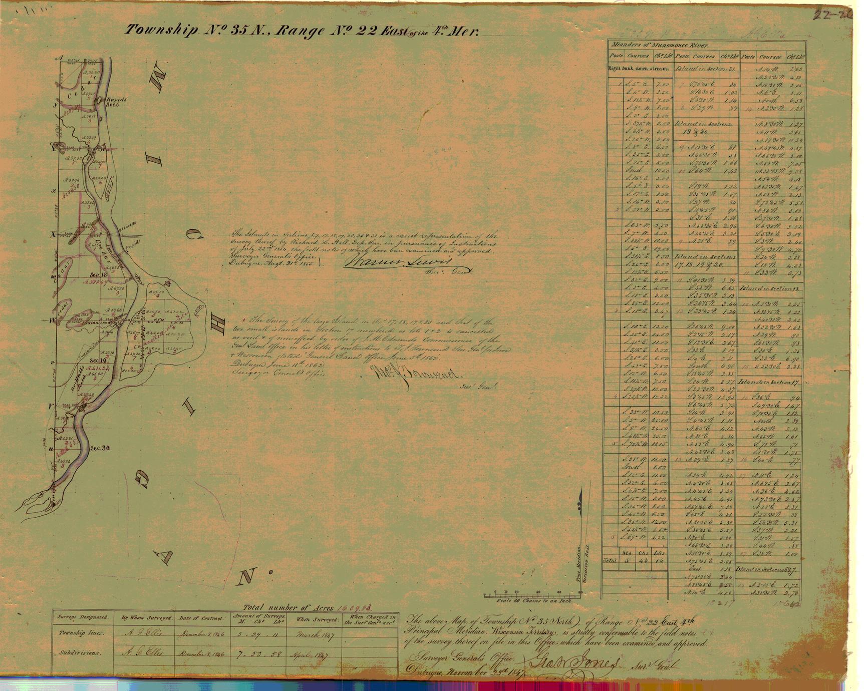 [Public Land Survey System map: Wisconsin Township 35 North, Range 22 East]