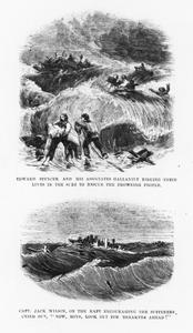 Page of Frank Leslie's Illustrated Newspaper with two sketches of the sinking of the Lady Elgin
