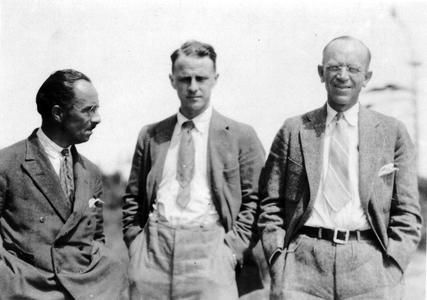 With William Rowen and Charles Elton at the Matamek Conference on Biological Cycles, Quebec, July 1931 (AL on right)