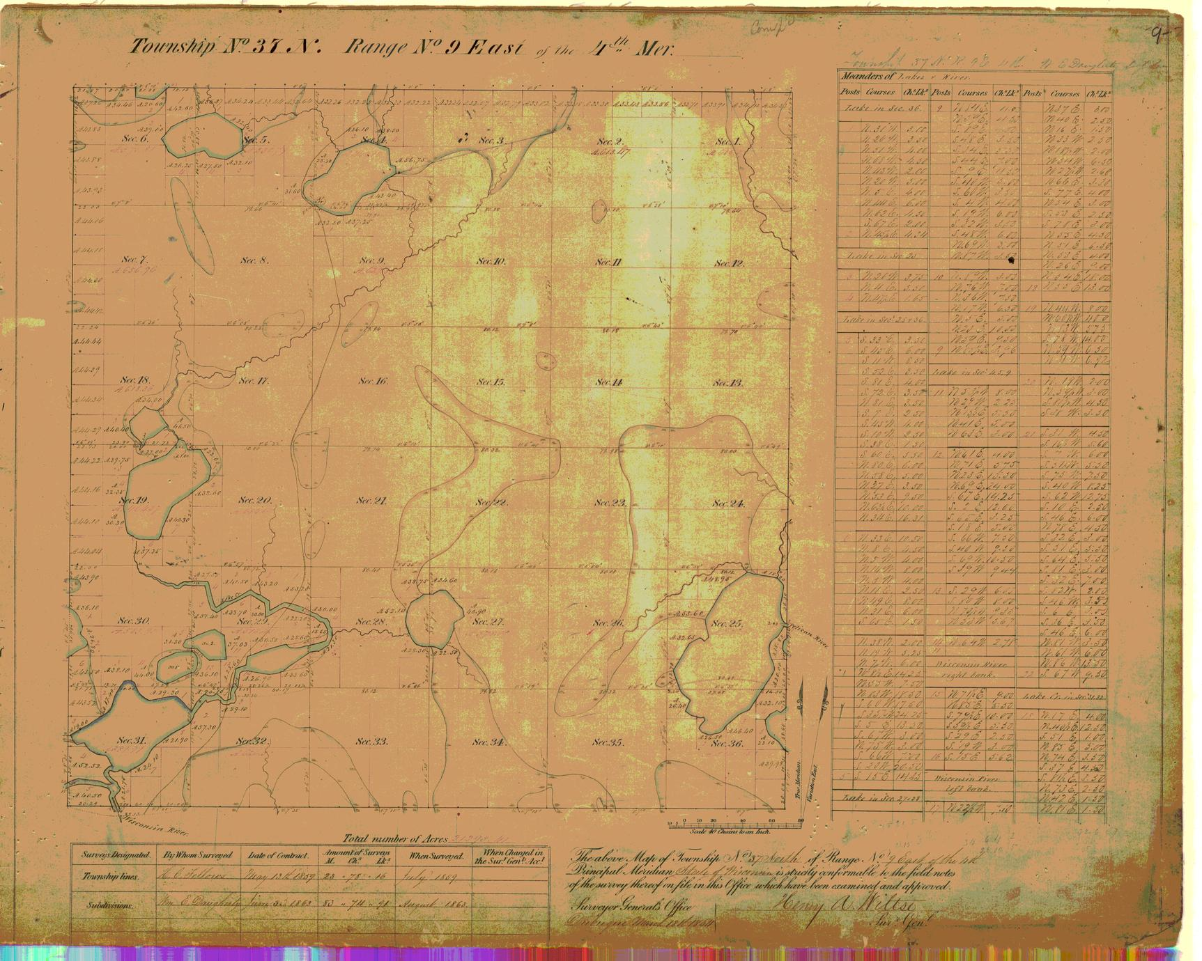 [Public Land Survey System map: Wisconsin Township 37 North, Range 09 East]