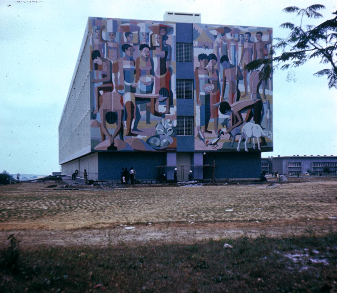 Decorated Wall of Building on University of Kinshasa Campus