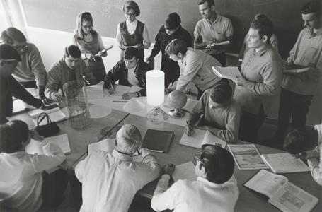 Students in a geography laboratory