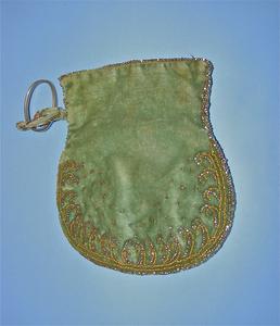 Green velvet pouch