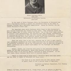 Helen C. White memorial service program, page 1