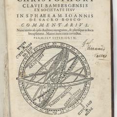 Engraved title page from clavius' in sphaeram joannis de sacro bosco commentarius