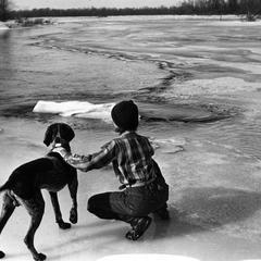 Estella Leopold and Gus at river in winter