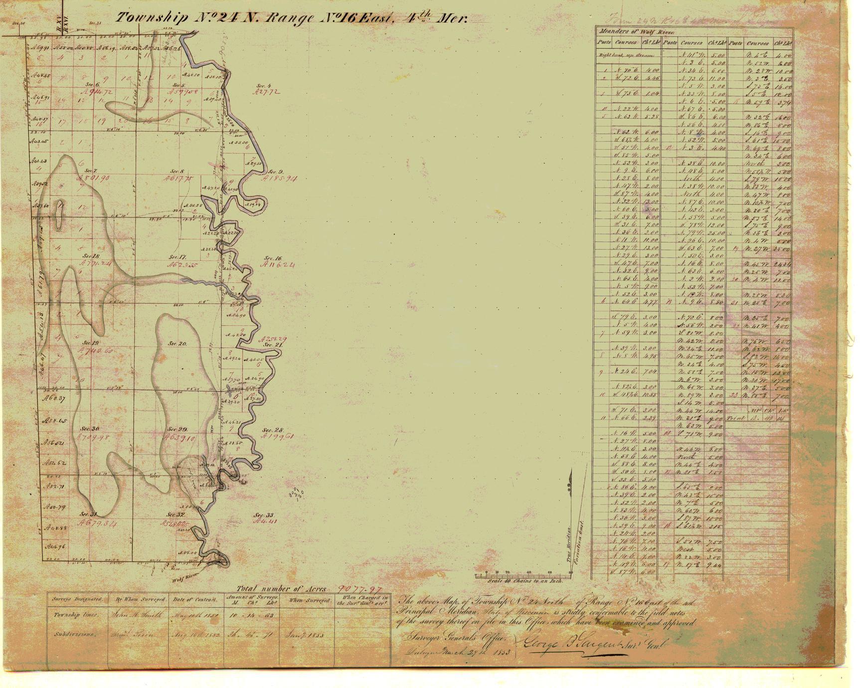[Public Land Survey System map: Wisconsin Township 24 North, Range 16 East]