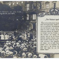 Ansprache des Kaisers an sein Volk am Freitag den 31. Juli 1914