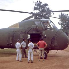 Helicopter crew at That Luang