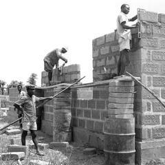 Ornamented Cement Block Construction
