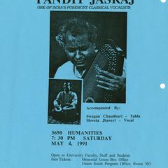 Poster for concert by Pandit Jasraj