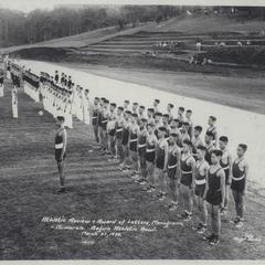 Cadets in athletic attire being reviewed, Baguio