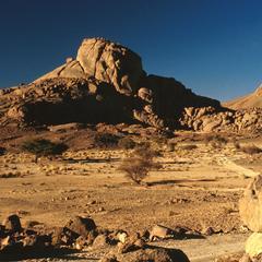 Desert Road View near Ahaggar (Hoggar) Mountains