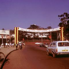 Bus Park in Kampala with Tribute to Idi Amin