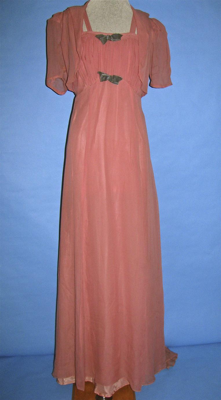 Salmon pink chiffon evening dress
