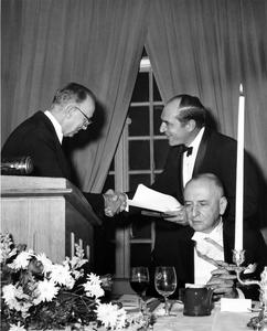 Luna Leopold being awarded the Cullum Medal of the American Geographical Society
