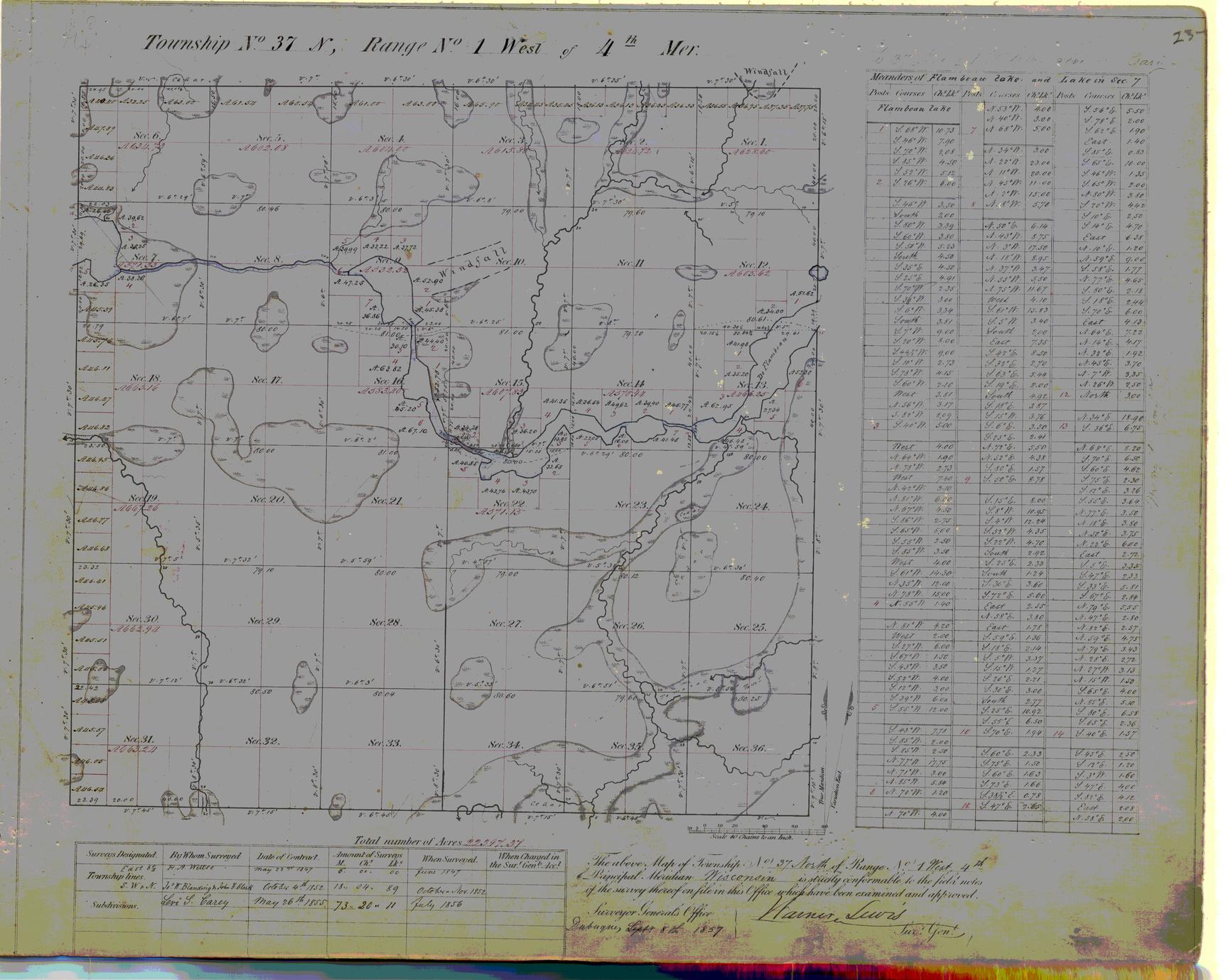[Public Land Survey System map: Wisconsin Township 37 North, Range 01 West]