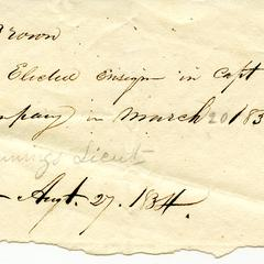 Note stating that George B. Brown was elected ensign, 1834