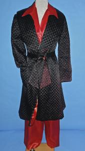 Red synthetic satin pajamas and quilted robe