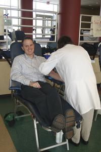 Caleb Bush at the campus blood drive, University of Wisconsin--Marshfield/Wood County, 2012