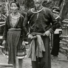 An elderly Blue Hmong (Hmong Njua) husband and wife in a Hmong village in the vicinity of Muang Vang Vieng in Vientiane Province
