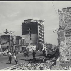 Damaged buildings in Rizal Avenue, Manila, 1945