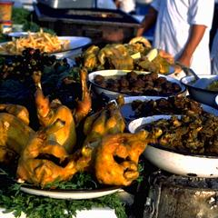 Food at Open-Air Restaurant at Djemaa el-Fna Square