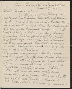 [Letter from Julia Sternberger to her mother, Franziska Sternberger, June 27, 1925]