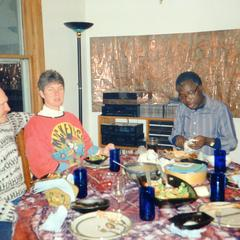 Folarin and others at table