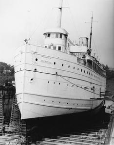 Bow view of the Isle Royale in dry dock