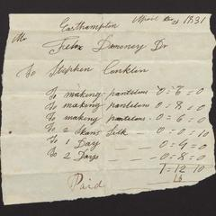 Bill and receipt from Stephen Conklin to Felix Dominy,1831