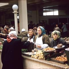 Buying vegetables at the market