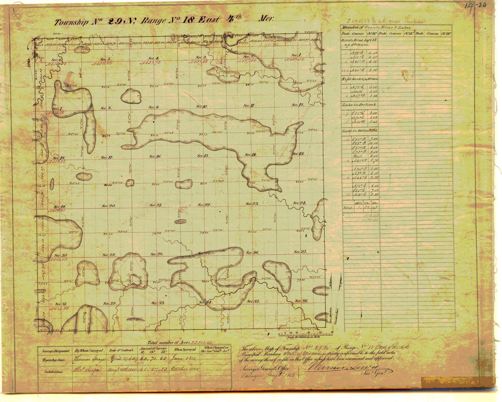 [Public Land Survey System map: Wisconsin Township 29 North, Range 18 East]