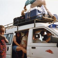 Passengers and cargo in van