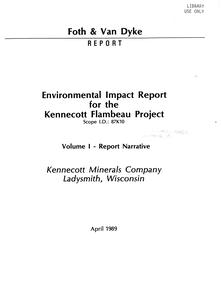 Environmental impact report for the Kennecott Flambeau Project : parts I-VI
