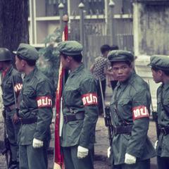 Pathet Lao honor guard soldiers at a ceremony