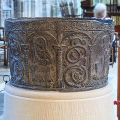 Gloucester Cathedral Norman baptismal font