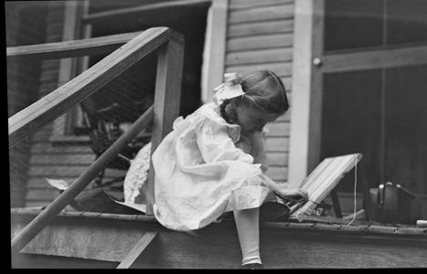 Helen Louise Allen weaving as a girl