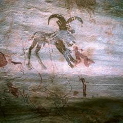 Petroglyph : Ibex or Mouflon and Human Figures