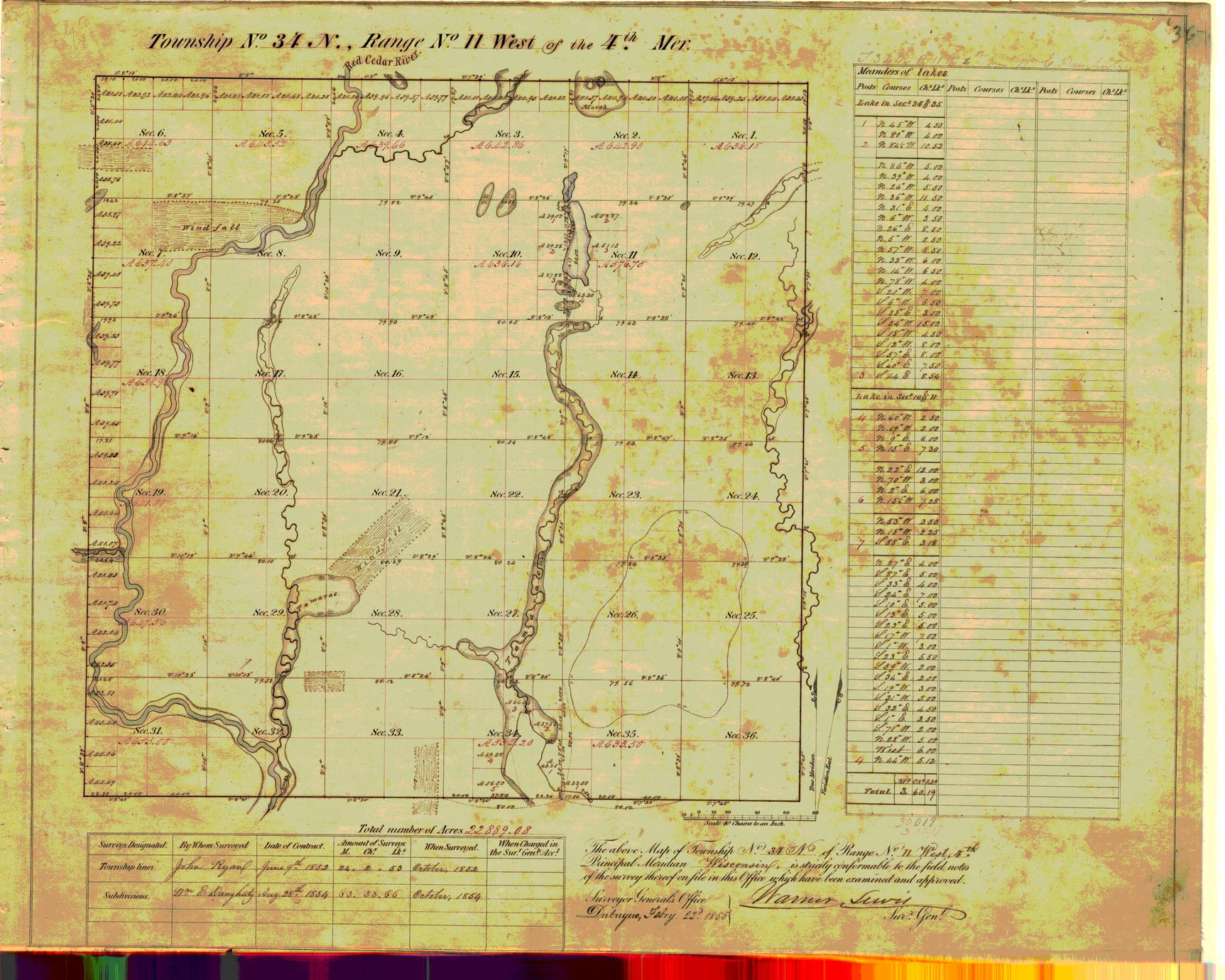 [Public Land Survey System map: Wisconsin Township 34 North, Range 11 West]