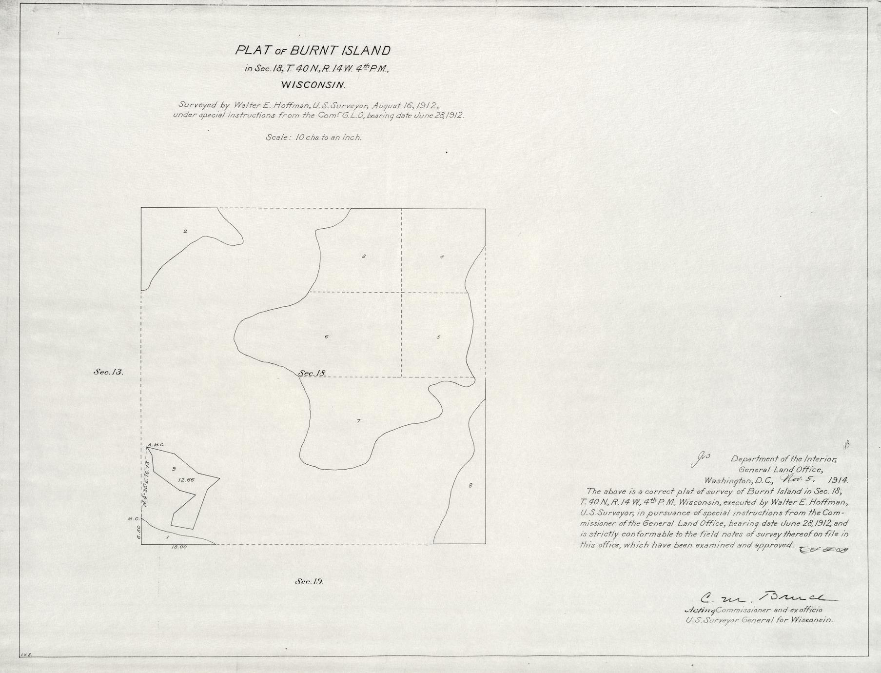 [Public Land Survey System map: Wisconsin Township 40 North, Range 14 West]