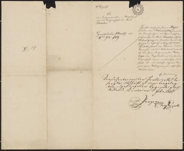 [Copy of a document from Ch. Ferdinand to the City of Kaaden, Mayor Sternberger, February 10, 1809]