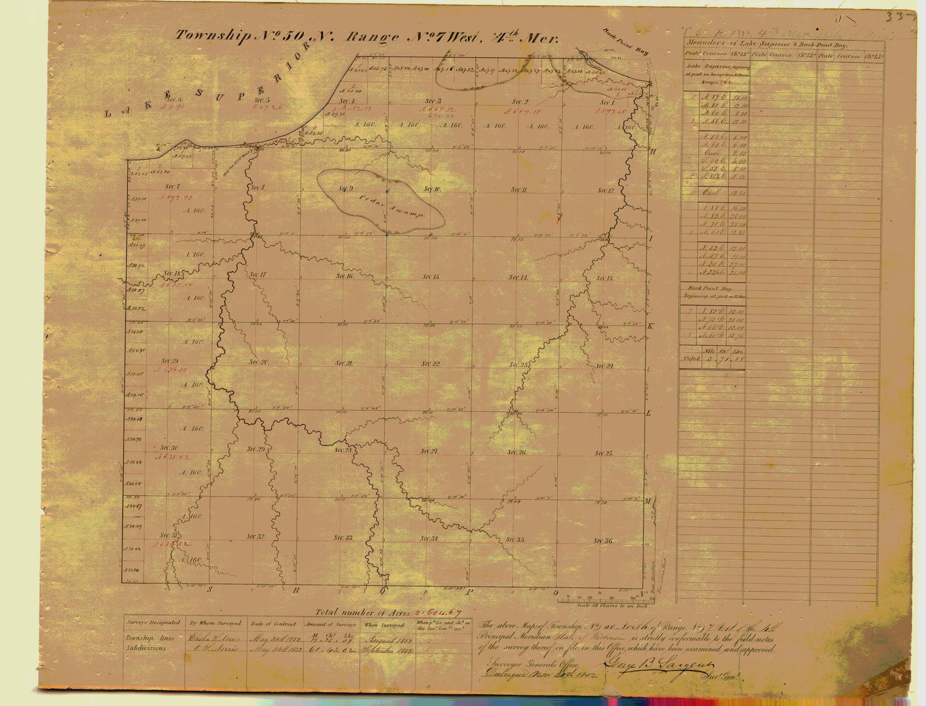 [Public Land Survey System map: Wisconsin Township 50 North, Range 07 West]