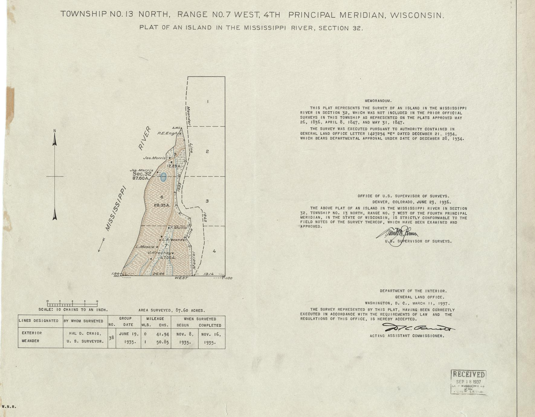 [Public Land Survey System map: Wisconsin Township 13 North, Range 07 West]