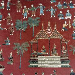 Decorative art on Buddhist temple in the city of Luang Prabang in Luang Prabang Province